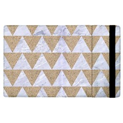 Triangle2 White Marble & Sand Apple Ipad 3/4 Flip Case by trendistuff