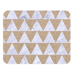 Triangle2 White Marble & Sand Double Sided Flano Blanket (large)  by trendistuff