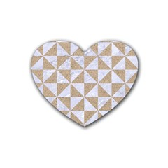 Triangle1 White Marble & Sand Heart Coaster (4 Pack)  by trendistuff