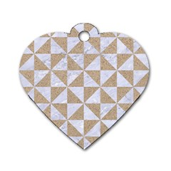 Triangle1 White Marble & Sand Dog Tag Heart (one Side)