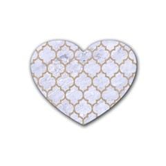 Tile1 White Marble & Sand (r) Rubber Coaster (heart)  by trendistuff
