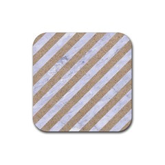 Stripes3 White Marble & Sand (r) Rubber Square Coaster (4 Pack)  by trendistuff