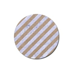 Stripes3 White Marble & Sand (r) Rubber Coaster (round)  by trendistuff