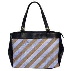 Stripes3 White Marble & Sand (r) Office Handbags by trendistuff