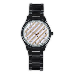 Stripes3 White Marble & Sand (r) Stainless Steel Round Watch by trendistuff