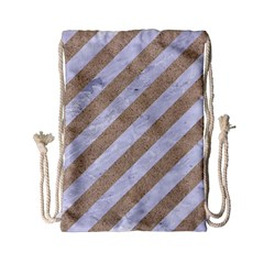 Stripes3 White Marble & Sand (r) Drawstring Bag (small) by trendistuff