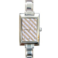 Stripes3 White Marble & Sand Rectangle Italian Charm Watch by trendistuff