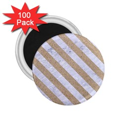 Stripes3 White Marble & Sand 2 25  Magnets (100 Pack)  by trendistuff