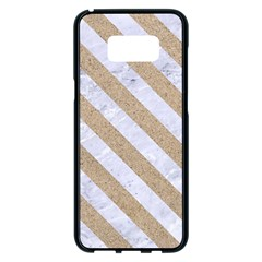 Stripes3 White Marble & Sand Samsung Galaxy S8 Plus Black Seamless Case by trendistuff
