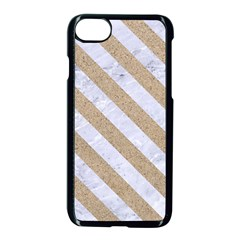 Stripes3 White Marble & Sand Apple Iphone 8 Seamless Case (black) by trendistuff