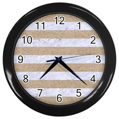 Stripes2white Marble & Sand Wall Clocks (black) by trendistuff