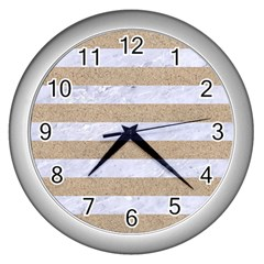 Stripes2white Marble & Sand Wall Clocks (silver)  by trendistuff