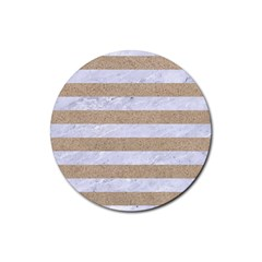 Stripes2white Marble & Sand Rubber Round Coaster (4 Pack)  by trendistuff