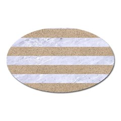 Stripes2white Marble & Sand Oval Magnet by trendistuff
