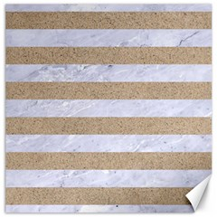Stripes2white Marble & Sand Canvas 16  X 16   by trendistuff