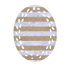 Stripes2white Marble & Sand Ornament (oval Filigree) by trendistuff