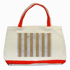 Stripes1 White Marble & Sand Classic Tote Bag (red) by trendistuff