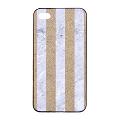 Stripes1 White Marble & Sand Apple Iphone 4/4s Seamless Case (black)
