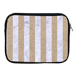 Stripes1 White Marble & Sand Apple Ipad 2/3/4 Zipper Cases by trendistuff