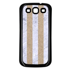 Stripes1 White Marble & Sand Samsung Galaxy S3 Back Case (black) by trendistuff