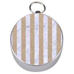Stripes1 White Marble & Sand Silver Compasses by trendistuff