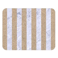 Stripes1 White Marble & Sand Double Sided Flano Blanket (large)  by trendistuff