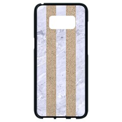 Stripes1 White Marble & Sand Samsung Galaxy S8 Black Seamless Case by trendistuff