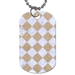 Square2 White Marble & Sand Dog Tag (one Side) by trendistuff