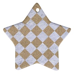 Square2 White Marble & Sand Star Ornament (two Sides) by trendistuff