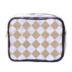 Square2 White Marble & Sand Mini Toiletries Bags by trendistuff