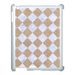 Square2 White Marble & Sand Apple Ipad 3/4 Case (white) by trendistuff