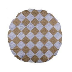 Square2 White Marble & Sand Standard 15  Premium Flano Round Cushions by trendistuff