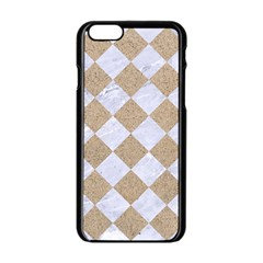 Square2 White Marble & Sand Apple Iphone 6/6s Black Enamel Case by trendistuff