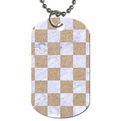 Square1 White Marble & Sand Dog Tag (one Side) by trendistuff