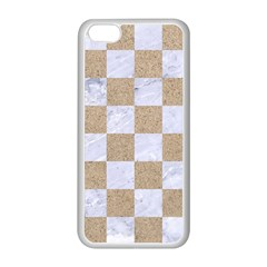 Square1 White Marble & Sand Apple Iphone 5c Seamless Case (white) by trendistuff