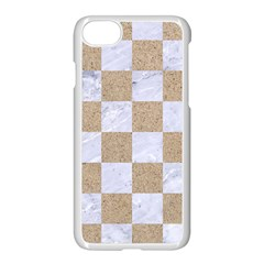 Square1 White Marble & Sand Apple Iphone 8 Seamless Case (white) by trendistuff