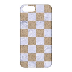 Square1 White Marble & Sand Apple Iphone 8 Plus Hardshell Case by trendistuff