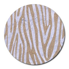 Skin4 White Marble & Sand (r) Round Mousepads