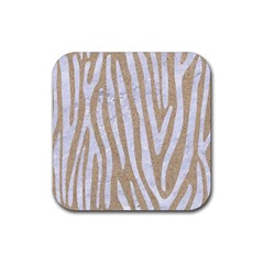 Skin4 White Marble & Sand (r) Rubber Square Coaster (4 Pack)  by trendistuff
