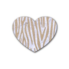 Skin4 White Marble & Sand Heart Coaster (4 Pack)  by trendistuff