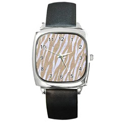 Skin3 White Marble & Sand Square Metal Watch by trendistuff