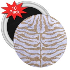 Skin2 White Marble & Sand (r) 3  Magnets (10 Pack)  by trendistuff