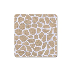 Skin1 White Marble & Sand (r) Square Magnet by trendistuff