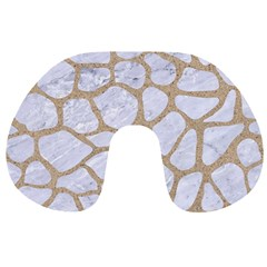 Skin1 White Marble & Sand Travel Neck Pillows by trendistuff