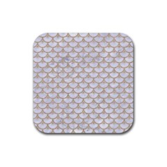 Scales3 White Marble & Sand (r) Rubber Coaster (square)  by trendistuff