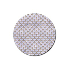Scales3 White Marble & Sand (r) Rubber Coaster (round)  by trendistuff
