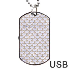 Scales3 White Marble & Sand (r) Dog Tag Usb Flash (two Sides) by trendistuff