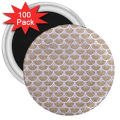 Scales3 White Marble & Sand 3  Magnets (100 Pack) by trendistuff