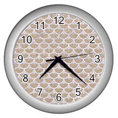 Scales3 White Marble & Sand Wall Clocks (silver)  by trendistuff