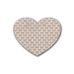 Scales3 White Marble & Sand Heart Coaster (4 Pack)  by trendistuff
